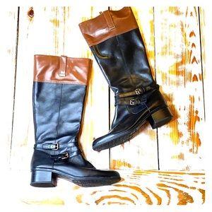 EUC Bandolino Black & Brown 2-Tone Knee High Boot